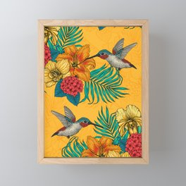 Hummingbirds and tropical bouquet in yellow Framed Mini Art Print