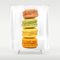 "macaroons Shower Curtains featuring ""A Pile Of Goodness"" French Macaroons by Nature In Art..."