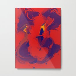 Red Blue Jean Abstract Art Metal Print