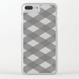Pantone Pewter Gray Argyle Plaid Diamond Pattern Clear iPhone Case