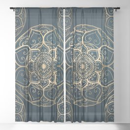 Mandala Night Blue Sheer Curtain