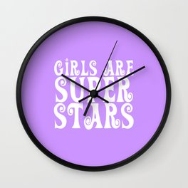 Girls are Super Stars - Purple Wall Clock