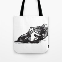 cafe racer Tote Bags featuring RACER 19 by Ernie Young