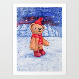 bear with sock cap Art Print