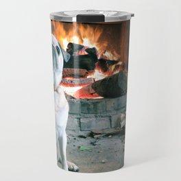 Sucka The Pug by the Fire Travel Mug