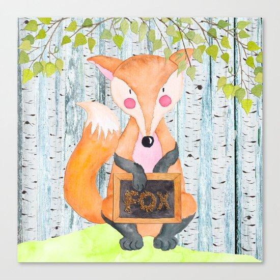 The little Fox- Woodland Friends- Watercolor Illustration Canvas Print