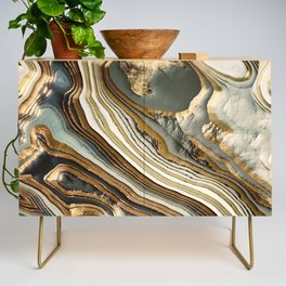 White Gold Agate Abstract Credenza