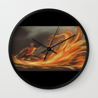 aang Wall Clocks featuring Avatar Aang by Zack Coleman