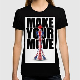 Make Your Move UK / 3D render of chess king with British flag T-shirt