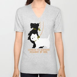 Retro London and Glasgow by train, dogs terriers Unisex V-Neck