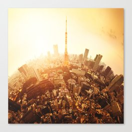 tiny planet called japan with tokyo tower Canvas Print