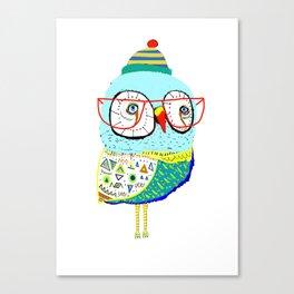 Bobble Hat Owl. Canvas Print