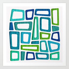 Mid Century Abstract ~ Blue & Green Palette Art Print