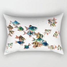 Barb Fish, Aquatic Blue Turquoise Underwater Scene Rectangular Pillow
