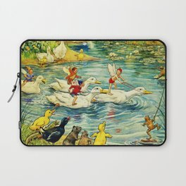 """""""Duck Racing in the Pond"""" by Margaret Tarrant Laptop Sleeve"""