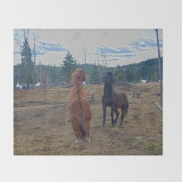 The Challenge - Ranch Horses Fighting Throw Blanket