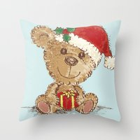teddy bear Throw Pillows featuring Teddy bear by Toru Sanogawa