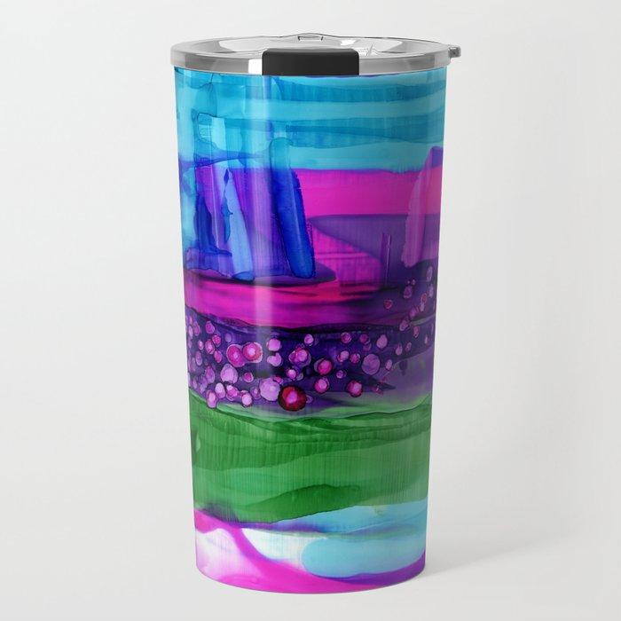 Friction - abstract modern stripes, dots, vibrant, purple, blue, magenta, hot pink, emerald green Travel Mug