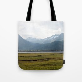 Misty Mountain Sunset Photography Print Tote Bag