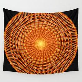 Amber Vortex Mandala Wall Tapestry