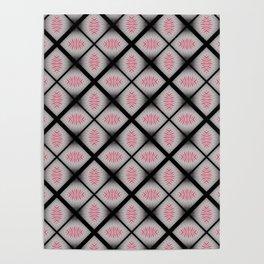 Pink Black Tile Pattern #HomeDecor Poster