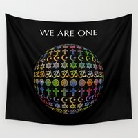 lama Wall Tapestries featuring WE ARE ONE - color version by Klara Acel