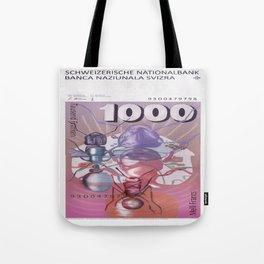 1000 Old Swiss Francs note - Back Tote Bag