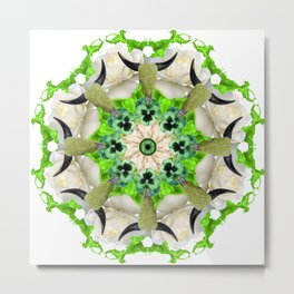 green cows mandala Metal Print