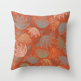 Bohemian Florals in Orange Throw Pillow