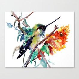 Hummingbird and Orange Flowers, tropical Olive green Canvas Print