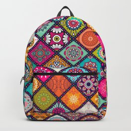Colorful Bohemian Boho Chick Spanish Tile Tapestry Design Backpack