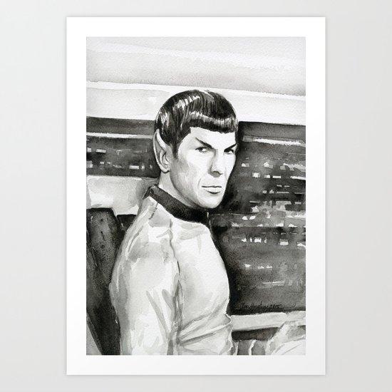 Spock Leonard Nimoy Portrait Sci-fi Geek Painting Art Print