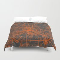 houston Duvet Covers featuring Houston map by Map Map Maps