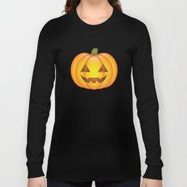 Cute Orange Halloween Pumpkin Illustration Long Sleeve T-shirt