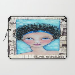 Whimiscal Girl with Curley Hair Laptop Sleeve