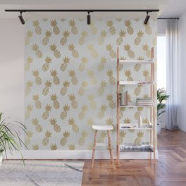 Gold Pineapple Pattern Wall Mural