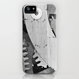 Wooden gears in black and white iPhone Case