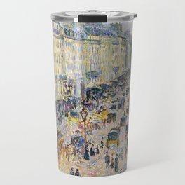 """Camille Pissarro """"La Rue Saint-Lazare, temps lumineux"""" Travel Mug"""
