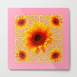 Decorator Golden Sunflower Floral Celtic art Metal Print