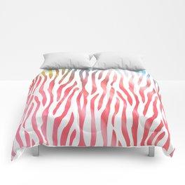 Abstract pink coral teal aqua watercolor zebra pattern Comforters