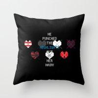 scott pilgrim Throw Pillows featuring Scott Pilgrim vs. The World - Young Neil by MacGuffin Designs