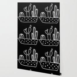 Cactus Planter Gray on Black Wallpaper