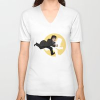 tintin V-neck T-shirts featuring Sherlock Adventures by jasesa