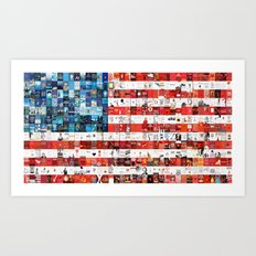 Red, White, and Books Art Print