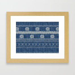 Mud Cloth Geometric Stripe Navy Framed Art Print