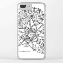Vermont Zentangle Snow Flakes Illustration Clear iPhone Case