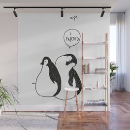 Farting pinguin Wall Mural