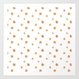 Watercolor modern orange hand painted simple floral Art Print