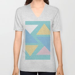 Triangle origami pastel pattern art Unisex V-Neck