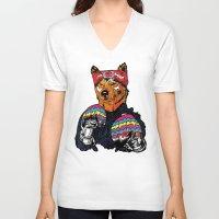 shiba V-neck T-shirts featuring Shiba - The Hustler  by Vasco Vicente